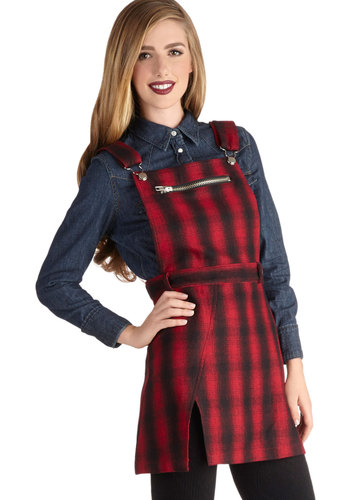 Good to Go Out Jumper - Red, Plaid, Buckles, Exposed zipper, Casual, Scholastic/Collegiate, Long, Woven, 90s, Jumper, Red