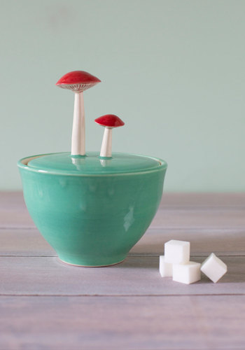 Forage for Sweets Sugar Bowl - Mushrooms, Better, Green, Red, Top Rated