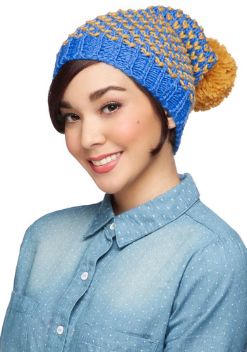 Good to Be Warm Hat in Sky by Louche - International Designer, Blue, Multi, Knitted, Poms, Winter