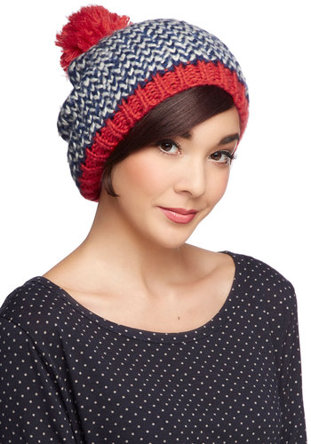 Good to Be Warm Hat in Ice by Louche - International Designer, Red, Blue, White, Print, Knitted, Poms, Holiday, Knit