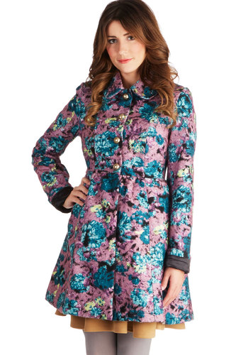 Press Preview Coat - 3, Long, Multi, Floral, Buttons, Pockets, Long Sleeve, Multi