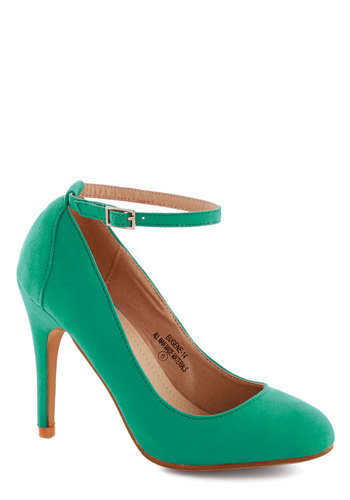 Ballroom Glancing Heel in Emerald - Green, Solid, Work, Daytime Party, Graduation, High, Good, Party, Faux Leather, Variation