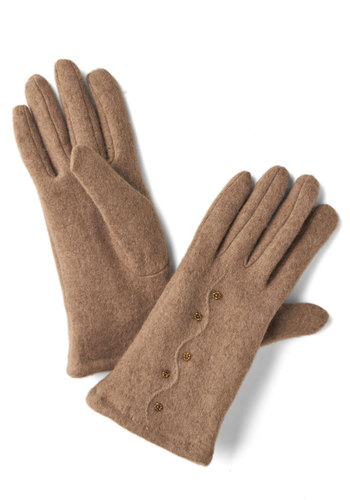 Cinnamon French Toasty Gloves - Tan, Bronze, Solid, Beads, Winter, Better, Folk Art