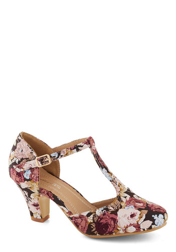 Eat, Bouquet, Love Heel in Berry Rose - Pink, Multi, Floral, Daytime Party, Fairytale, French / Victorian, Mid, Good, Exclusives, T-Strap, Valentine's