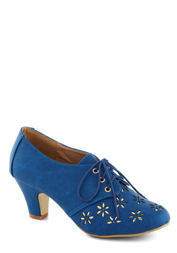 Solar Powerful Heel in Cerulean - Blue, Gold, Cutout, Daytime Party, Mid, Good, Lace Up, Exclusives, Faux Leather, Folk Art