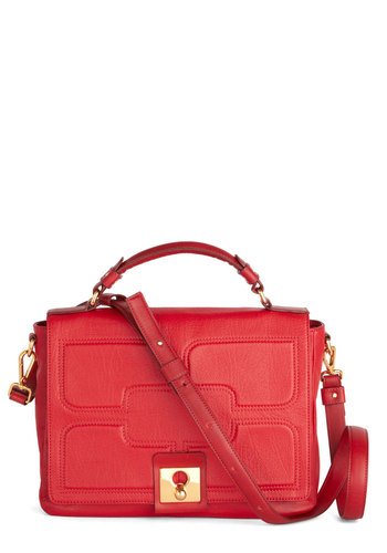 Orla Kiely Freelance Flair Bag by Orla Kiely - Red, Solid, Luxe, International Designer, Leather, Work