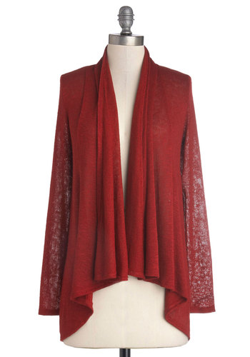 Heartwarming Hearth Cardigan - Mid-length, Sheer, Knit, Red, Casual, Minimal, Long Sleeve, Good, Solid, Red, Long Sleeve