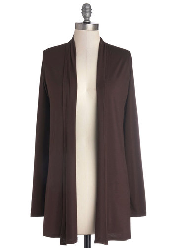 Day by Decor Cardigan in Mahogany - Jersey, Knit, Brown, Casual, Minimal, Long Sleeve, Good, Solid, Variation, Basic, Brown, Long Sleeve