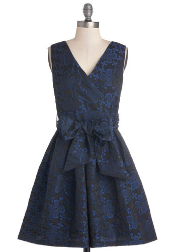 Take the Floret Dress by Darling - Mid-length, Woven, Black, Blue, Floral, Belted, Fit & Flare, Sleeveless, Better, V Neck, Party, Prom
