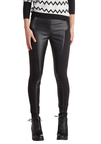 Formidable Fan Leggings by Jack by BB Dakota - Faux Leather, Knit, Black, Party, Urban, Solid, Black