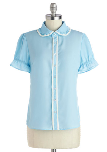 Le Marais of Light Top - Chiffon, Woven, Mid-length, Blue, White, Buttons, Peter Pan Collar, Ruffles, Casual, Vintage Inspired, 60s, French / Victorian, Cap Sleeves, Better, Collared, Trim, Work, Pastel, Button Down, Blue, Short Sleeve