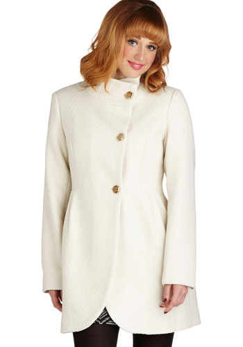 Opal of My Eye Coat - Long, 3, White, Solid, Buttons, Pockets, Long Sleeve, Fall, Winter, White