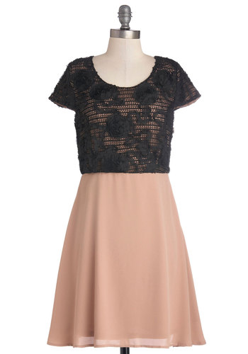 Romantic Promenade Dress - Flower, Party, Twofer, Short Sleeves, Better, Scoop, Woven, Pink, Black, Valentine's, Mid-length