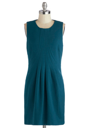 Aerodynamic Demeanor Dress - Short, Knit, Blue, Solid, Pockets, Work, Sheath / Shift, Sleeveless, Better, Pleats