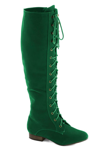 Everything Bold Is New Boot in Emerald - Low, Green, Solid, Statement, Better, Lace Up, Faux Leather, Variation, Folk Art