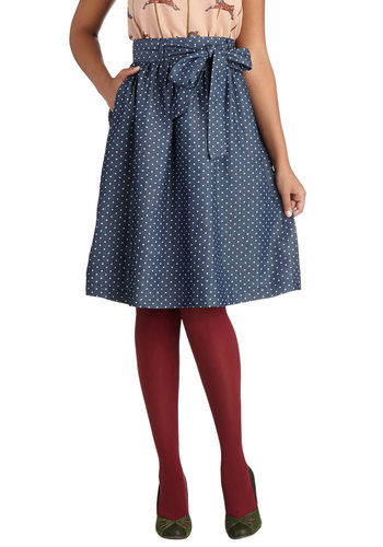 What a Surprise Skirt - Long, Denim, Woven, Blue, Polka Dots, Pockets, Belted, Casual, 50s, Good, Vintage Inspired, Ballerina / Tutu, Blue