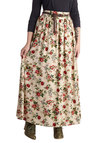 Pastoral History Skirt - Floral, Belted, Boho, Maxi, Better, Long, Woven, Casual, Vintage Inspired, 70s, Tan, Brown