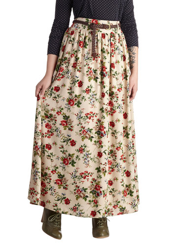 Pastoral History Skirt - Floral, Belted, Boho, Maxi, Better, Woven, Casual, Vintage Inspired, 70s, Tan, Brown, Long