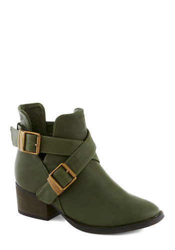 Avocado Acclaim Bootie - Green, Solid, Buckles, Good, Mid, Faux Leather, Chunky heel, Military