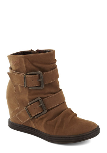 Cookie Cafe Bootie - Mid, Brown, Solid, Buckles, Better, Wedge, Ruching, Urban, Faux Leather