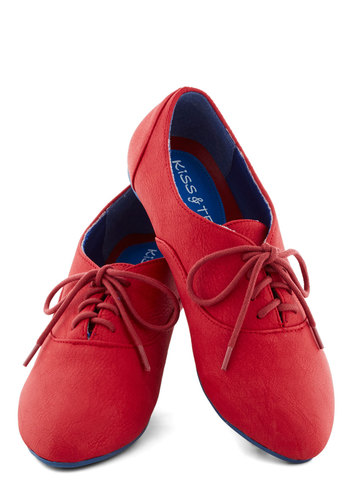 Art's Desire Flat in Red - Red, Solid, Menswear Inspired, Flat, Good, Lace Up, Faux Leather, Casual, Variation