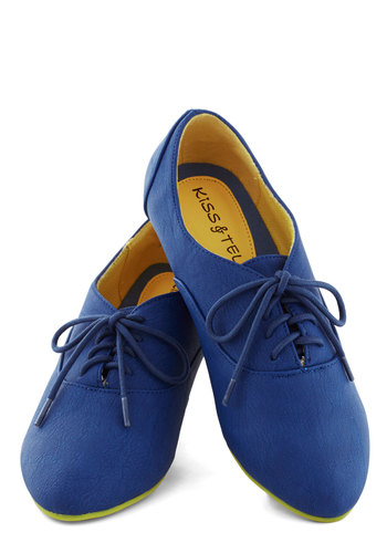 Art's Desire Flat in Blue - Blue, Yellow, Menswear Inspired, Colorblocking, Flat, Good, Lace Up, Faux Leather, Casual, Variation