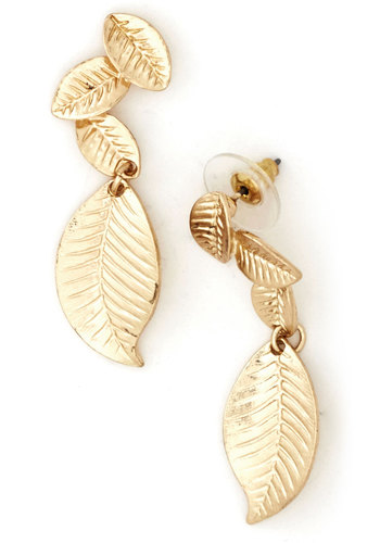 Fluttering Foliage Earrings - Gold, Solid, Tiered, Gold