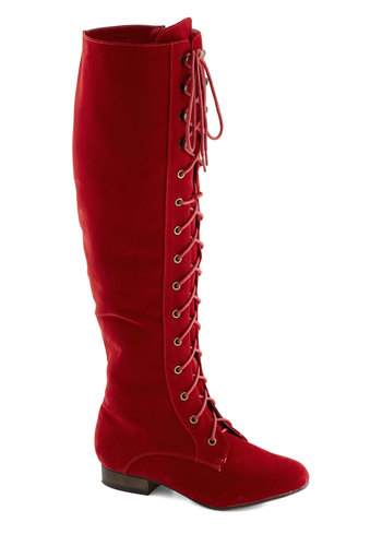 Everything Bold Is New Boot in Red - Red, Solid, Statement, Low, Better, Lace Up, Faux Leather, Variation, Folk Art