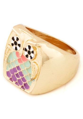 The Greatest Love of Owl Ring - Multi, Gold, Print with Animals, Owls, Good, Gold, Gifts Sale