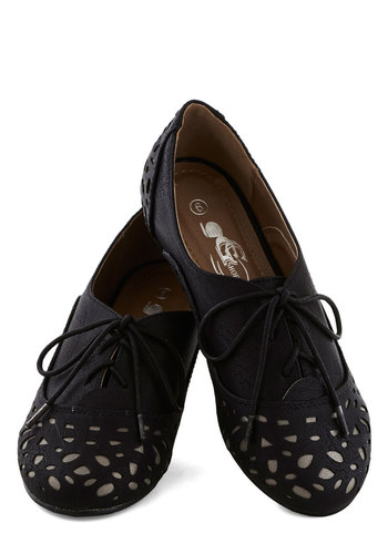 Simple Shine Flat - Low, Faux Leather, Black, Silver, Menswear Inspired, Good, Lace Up, Cutout