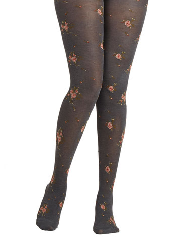 Cottage Garden Tights by Tabbisocks - Grey, Green, Pink, White, Floral, Fall, Winter, Best, Fairytale