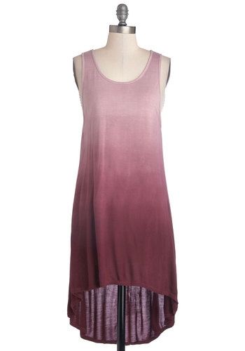 Sunrise and Shine Top in Purple - Mid-length, Jersey, Knit, Purple, Ombre, Casual, Boho, Sleeveless, Good, Scoop, High-Low Hem, Variation, Purple, Sleeveless