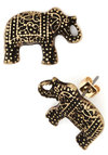 Patterned Pachyderms Earrings - Print with Animals, Boho, Gold, Gold