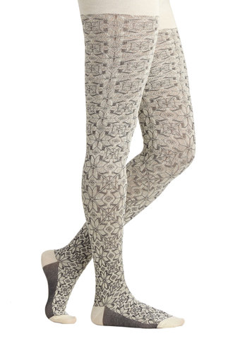 Cozy Country Home Tights - White, Print, Fall, Winter, Best, Grey