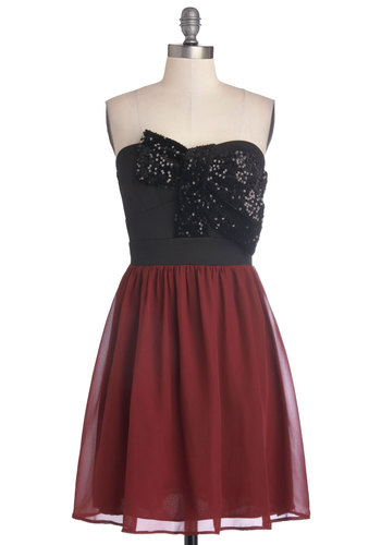 Soiree Songbird Dress - Short, Knit, Woven, Red, Black, Bows, Sequins, Party, A-line, Strapless, Good, Sweetheart, Prom, Holiday Party