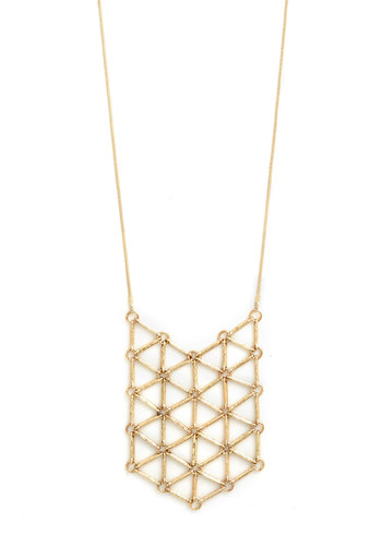 Follow the Pattern Necklace - Gold, Solid, Cutout, Good, Gold, 90s
