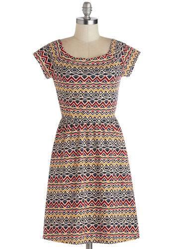 Salsa Stand Dress - Short, Jersey, Knit, Red, Yellow, Blue, Tan / Cream, Print, Casual, A-line, Cap Sleeves, Good, Multi, Scoop