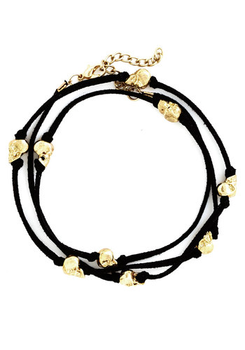 Use Your Noggin Bracelet - Black, Gold, Novelty Print, Halloween, Urban, Gold, Under $20