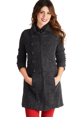 Museum Maven Coat - Grey, Solid, Military, Long Sleeve, Better, Knit, Long, 2, Pockets, Fall, Grey