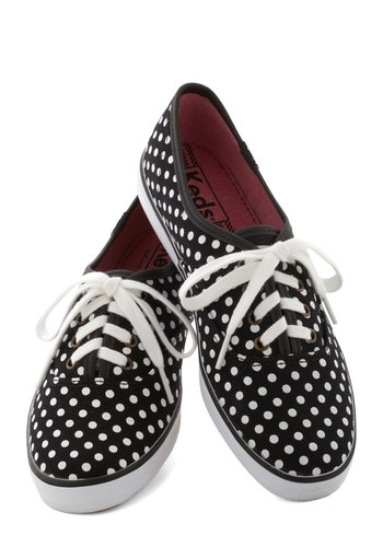 Jump for Joy Sneaker in Dots by Keds - Low, Black, White, Polka Dots, Casual, Good, Lace Up, Variation, 90s