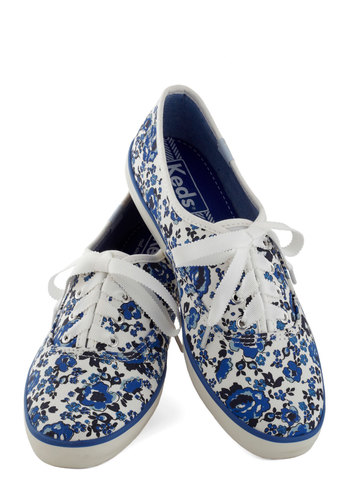 Jump for Joy Sneaker in Floral by Keds - Low, Blue, White, Floral, Casual, Good, Lace Up, Variation, 90s