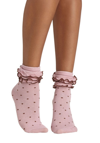 Ruffle the Fun Socks - Pink, Brown, Polka Dots, Ruffles, Trim, Good, Knit