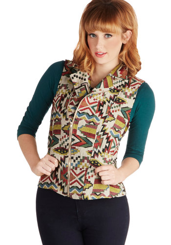 Local Foods Festival Vest - Short, Woven, Multi, Print, Pockets, Casual, Sleeveless