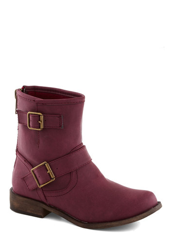 Literary Canyon Boot in Berry - Low, Faux Leather, Purple, Buckles, Good, Casual, Variation, Military