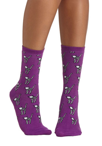 Cat-stume Party Socks - Purple, Black, White, Print with Animals, Casual, Cats, Good, Knit, Halloween