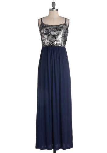 Dinner Cruise and a Movie Dress - Long, Knit, Woven, Blue, Black, Silver, Sequins, Party, Maxi, Spaghetti Straps, Good, Scoop