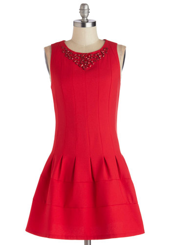 Poppy of Panache Dress - Short, Woven, Red, Solid, Cocktail, Drop Waist, Sleeveless, Better, Crew, Party, Holiday Party, 20s