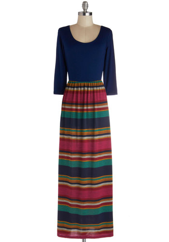 Intriguing Evening Dress - Blue, Multi, Stripes, Casual, Maxi, 3/4 Sleeve, Good, Scoop, Long, Jersey, Knit, Twofer