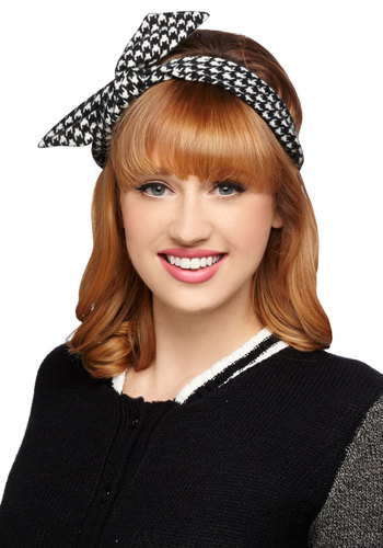 Through the Wire Headband in Houndstooth - Houndstooth, Casual, Better, Variation, Black, White, Rockabilly