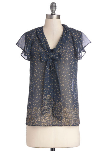 Delight in This! Top - Blue, Tan / Cream, Floral, Tie Neck, Casual, Short Sleeves, Mid-length, Chiffon, Sheer, Woven, Work, Blue, Short Sleeve